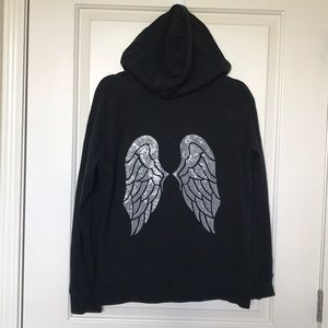 VS • Sequin Angels Zip Up Hooded Black Jacket Sz L